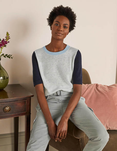 Askerton Linen Knitted  Tee - Navy Colourblock