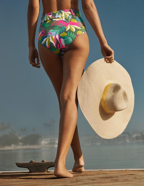 Kythira Belted Bikini Bottoms - Palm Leaf, Tropical Flora