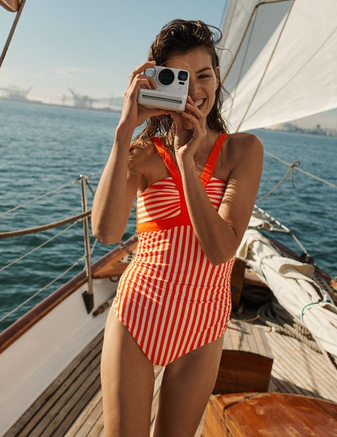 Corsica Swimsuit - Coral and Ivory Stripe