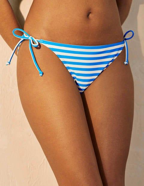 Bikinihöschen mit Bändern - Chinablau/Naturweiß, Gestreift