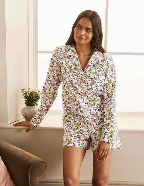Janie Pajama Shirt - Ivory, Beautiful Garden