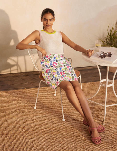 Danby Pull On Mini Skirt - Ivory, Garden Tropic Multi