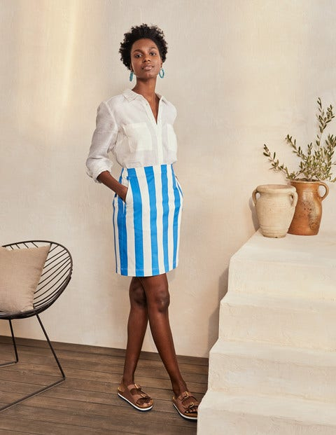 Danby Pull On Mini Skirt - Moroccan Blue and Ivory Stripe