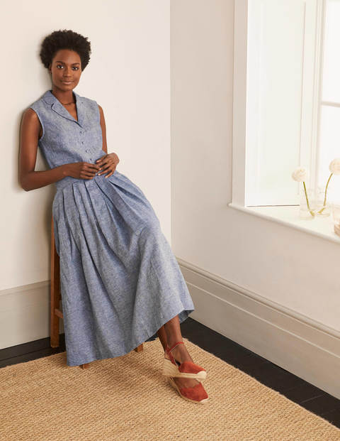 Lydia Linen Pleated Skirt