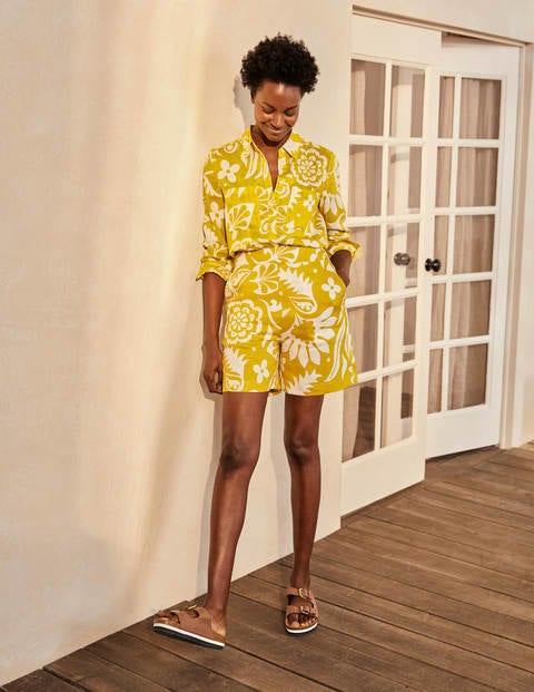Georgina Linen Shorts - Chartreuse, Garden Tropic