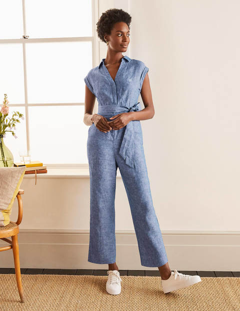 Catriona Linen Jumpsuit - Authentic Blue - Chambray