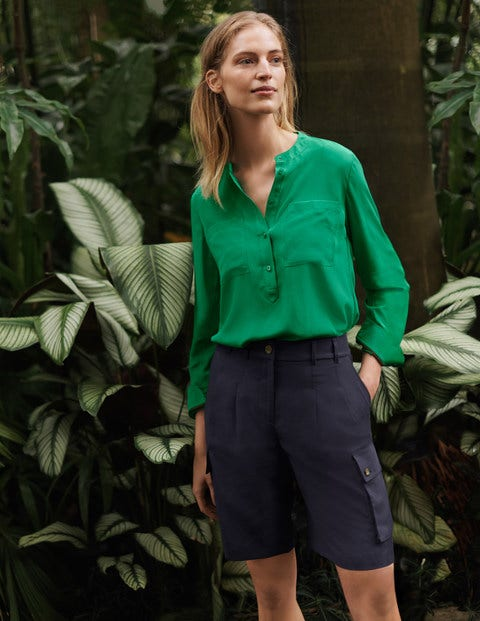 Silk Collarless Blouse - Sapling