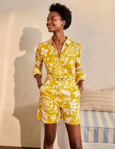 Linen Shirt - Chartreuse, Garden Tropic