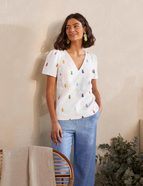Top Heidi - Broderie ananas blanche