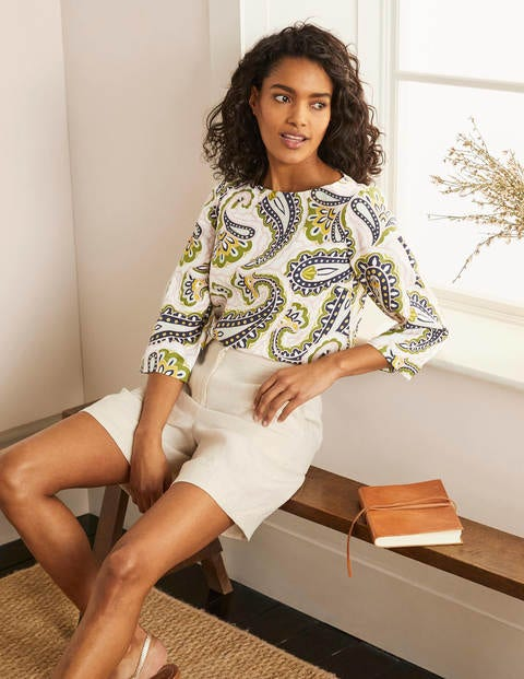 Laurie Linen Top - Ivory, Summer Paisley