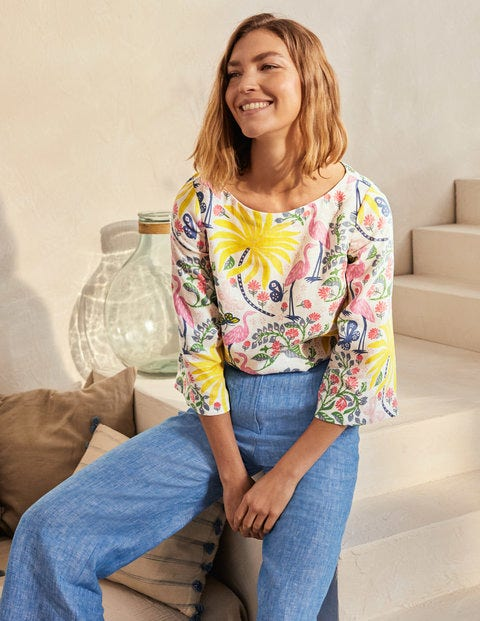 Top Laurie en lin - Ivoire, motif Tropical Charm