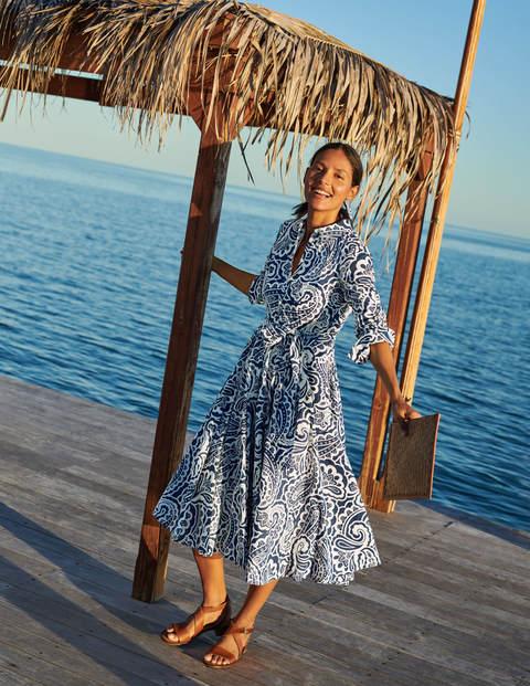 Robe-chemise midi Kitty - Bleu avion, motif Summer Paisley