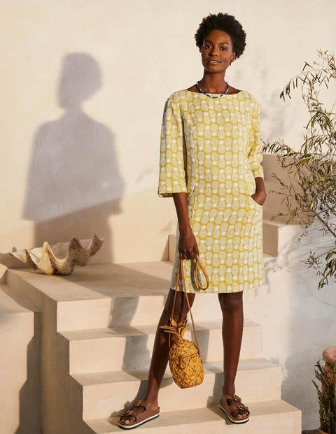 Laurie Linen Dress - Chartreuse, Pineapple Geo