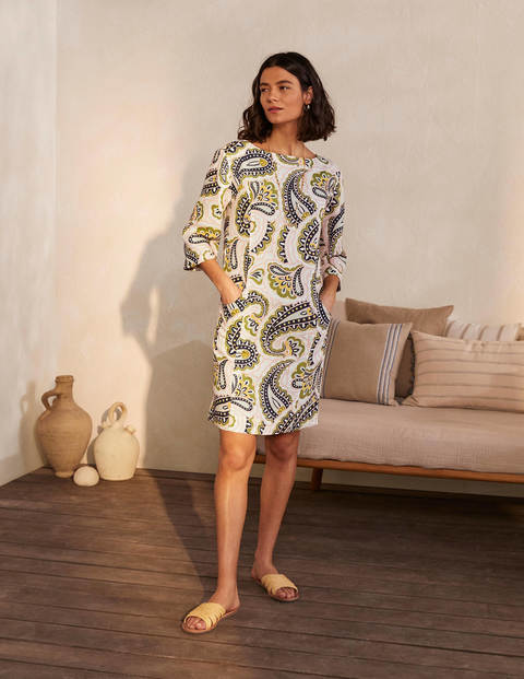 Laurie Linen Dress - Ivory, Summer Paisley