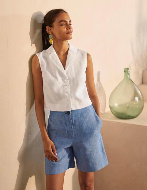 Georgina Linen Top - White