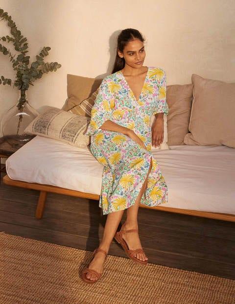Betsy Midi Dress - Ivory, Tropical Charm