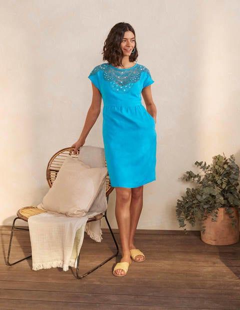 Robe Fleur brodée en lin - Lagon bleu