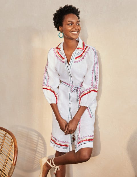 Zoe Embroidered Linen Dress
