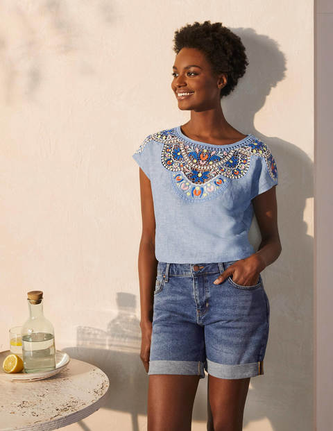 Fleur Embroidered Linen Top - Chambray
