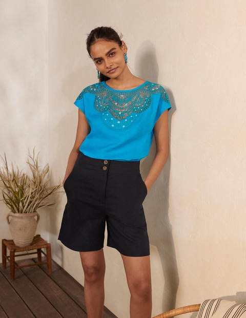 Fleur Embroidered Linen Top - Blue Lagoon