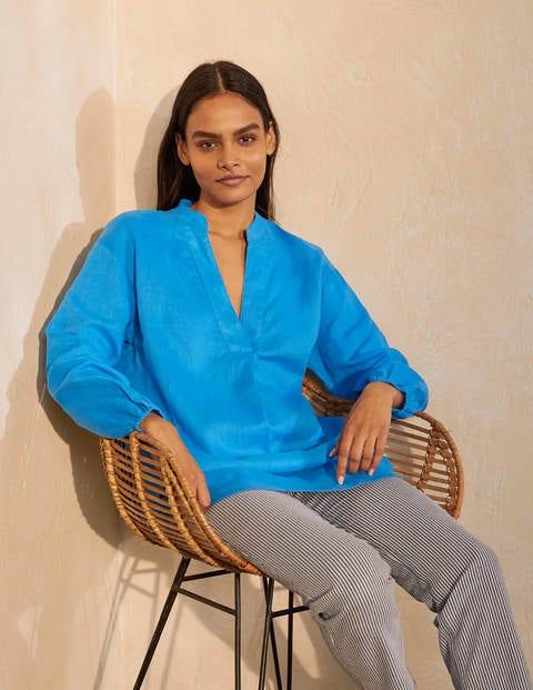 Hannah Linen Shirt - Moroccan Blue