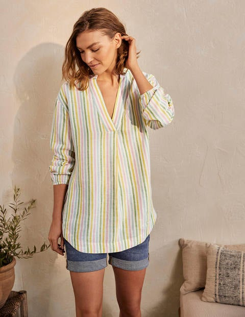 Hannah Linen Shirt - Green and Pink Stripe