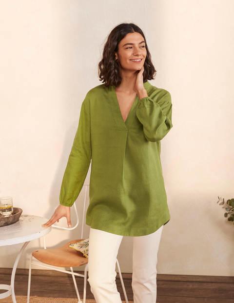 Hannah Linen Shirt - Pea