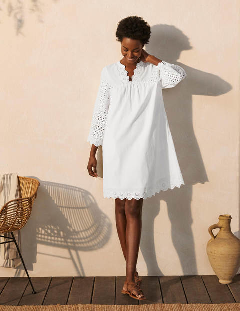 Erin Cotton Broderie Dress - White