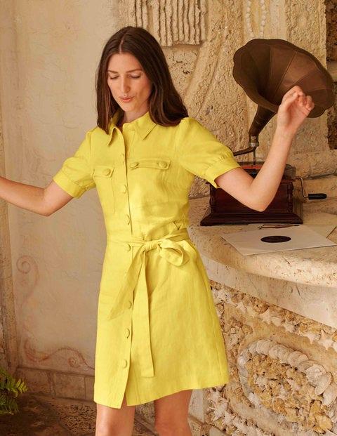 Carrie Linen Shirt Dress - Daffodil