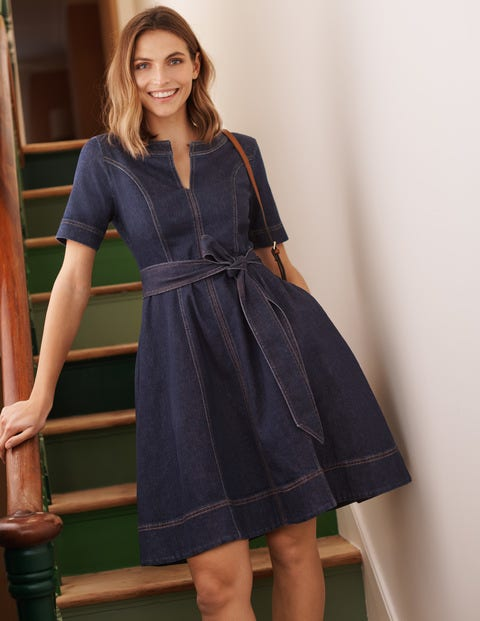 Eliza Belted Denim Dress