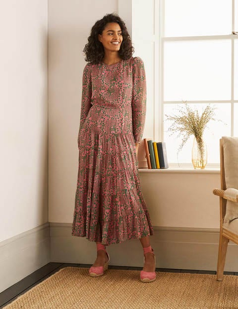 Annie Tiered Midi Dress - Azalea, Ornate Floral