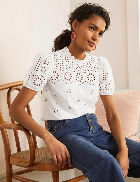 Altheda Broderie Top - White