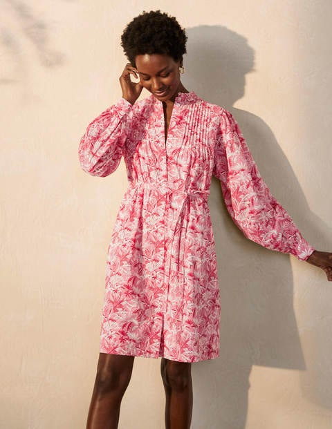 Antonia Cotton Shirt Dress - Azalea, Tropical Palm