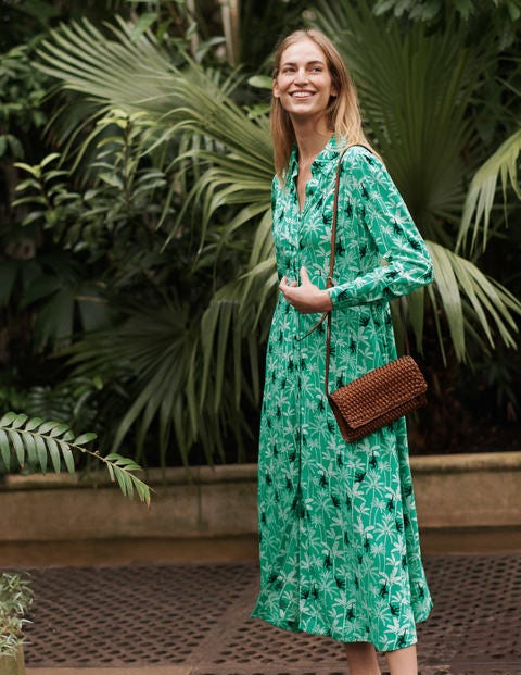 Cecile Midi Shirt Dress - Highland Green, Monkey Palm