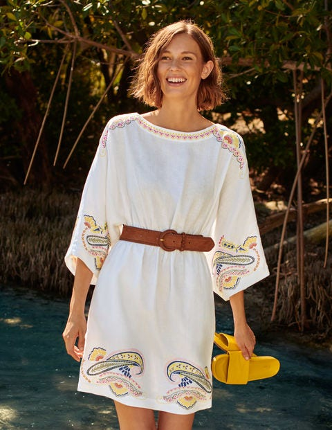 Briana Embroidered Linen Dress