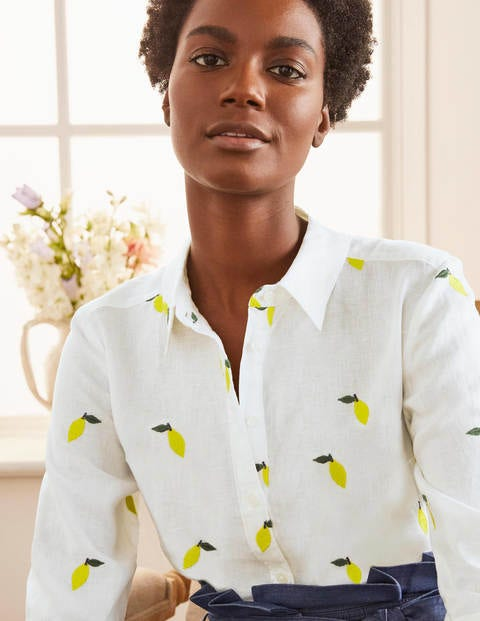 Embroidered Linen Shirt - White with Lemon Embroidery