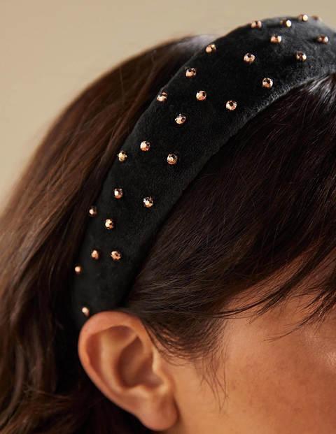 Jewelled Headband - Black/Gold Jewels