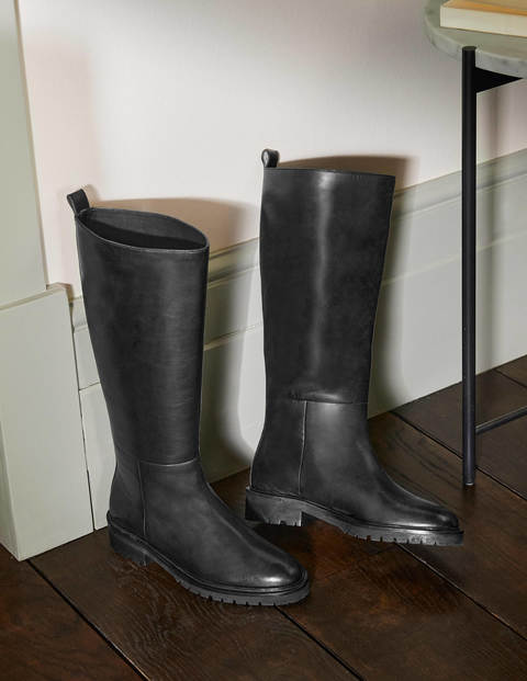 Chunky Pull-on Knee Boots - Black