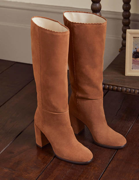 Scallop Detail Knee High Boots