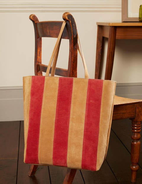 Stripe Leather Tote Bag