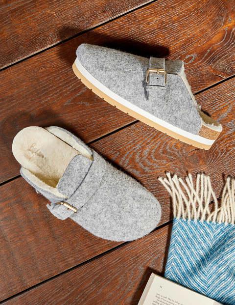 Borg Lined Mule Shoes - Grey Marl Felt