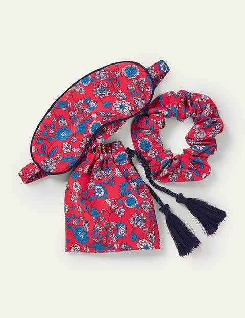 Eye Mask and Scrunchie Set - Bright Red, Delicate Floral