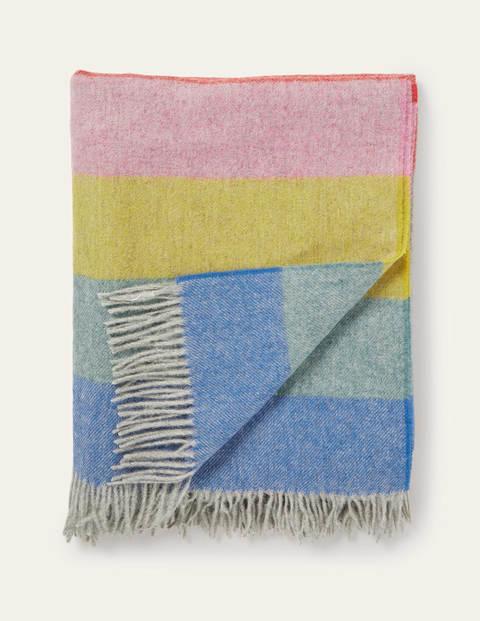 Wool Throw - Grey, Multi Stripe