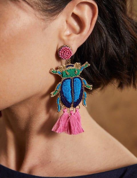 Embellished Beaded Earrings - Beetle