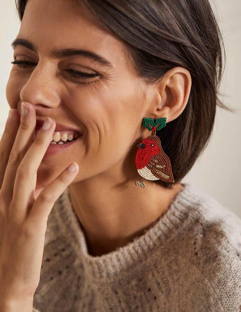 Boucles d'oreilles festives à perles - Rouges-gorges