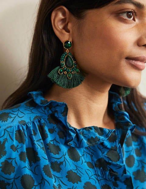Jewelled Fringe Earrings - Midnight Garden