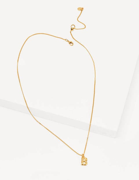 Hammered Gold Initial Pendant - Gold