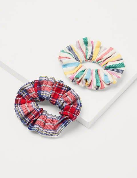 Scrunchie-Set aus Baumwolle - Naturweiß/Rockabilly-Rot, Kariert