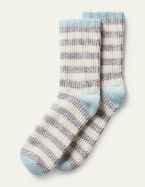 Cashmere Bed Socks - Fresh Water/Grey/Ivory