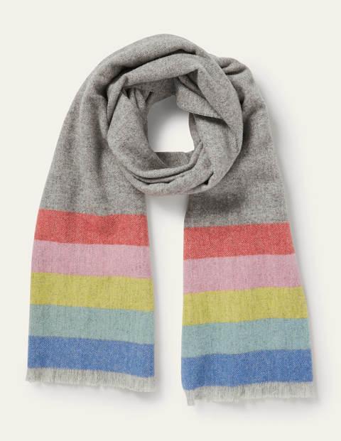 Wool Scarf - Grey, Rainbow Stripe